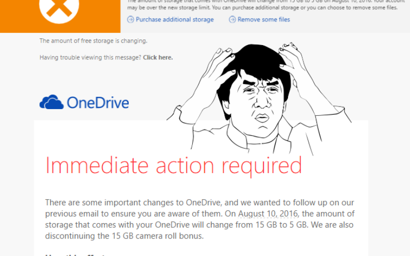 OneDrive Free Storage dropping from 15GB to 5GB