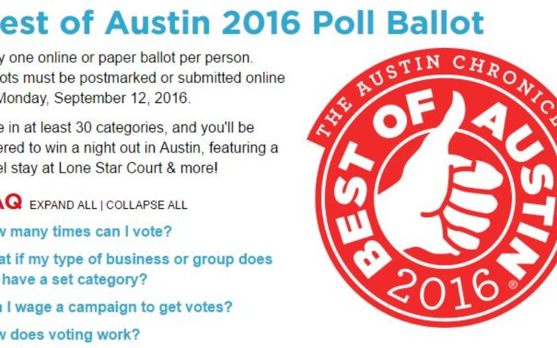 Best of Austin 2016 Poll Ballot – Chronicle