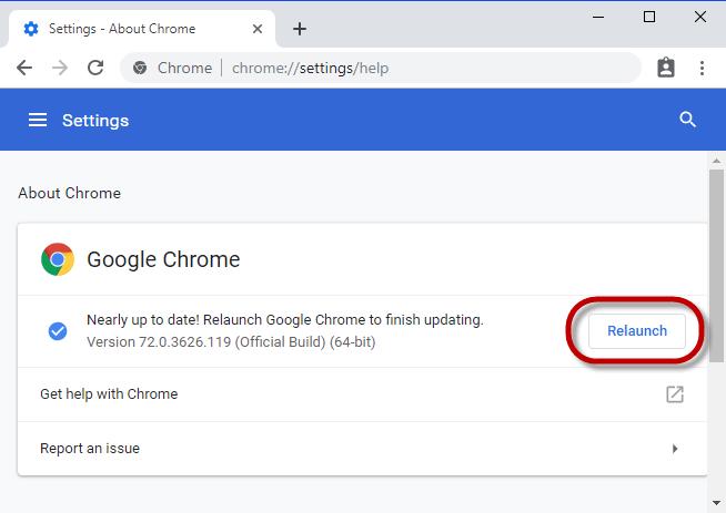 Chrome Relaunch